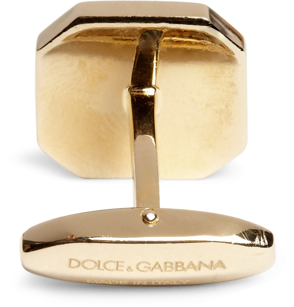 Dolce & Gabbana Gold-Plated Onyx Cufflinks