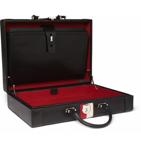 Gucci Striped Leather Briefcase