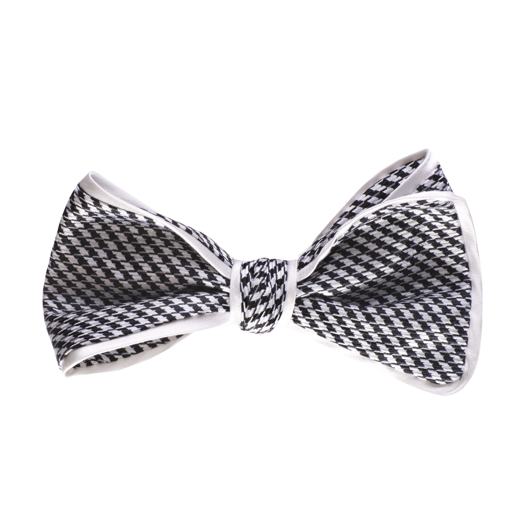 Inspired Knots Satin Black Hounds Tooth Bow Tie With White Piping