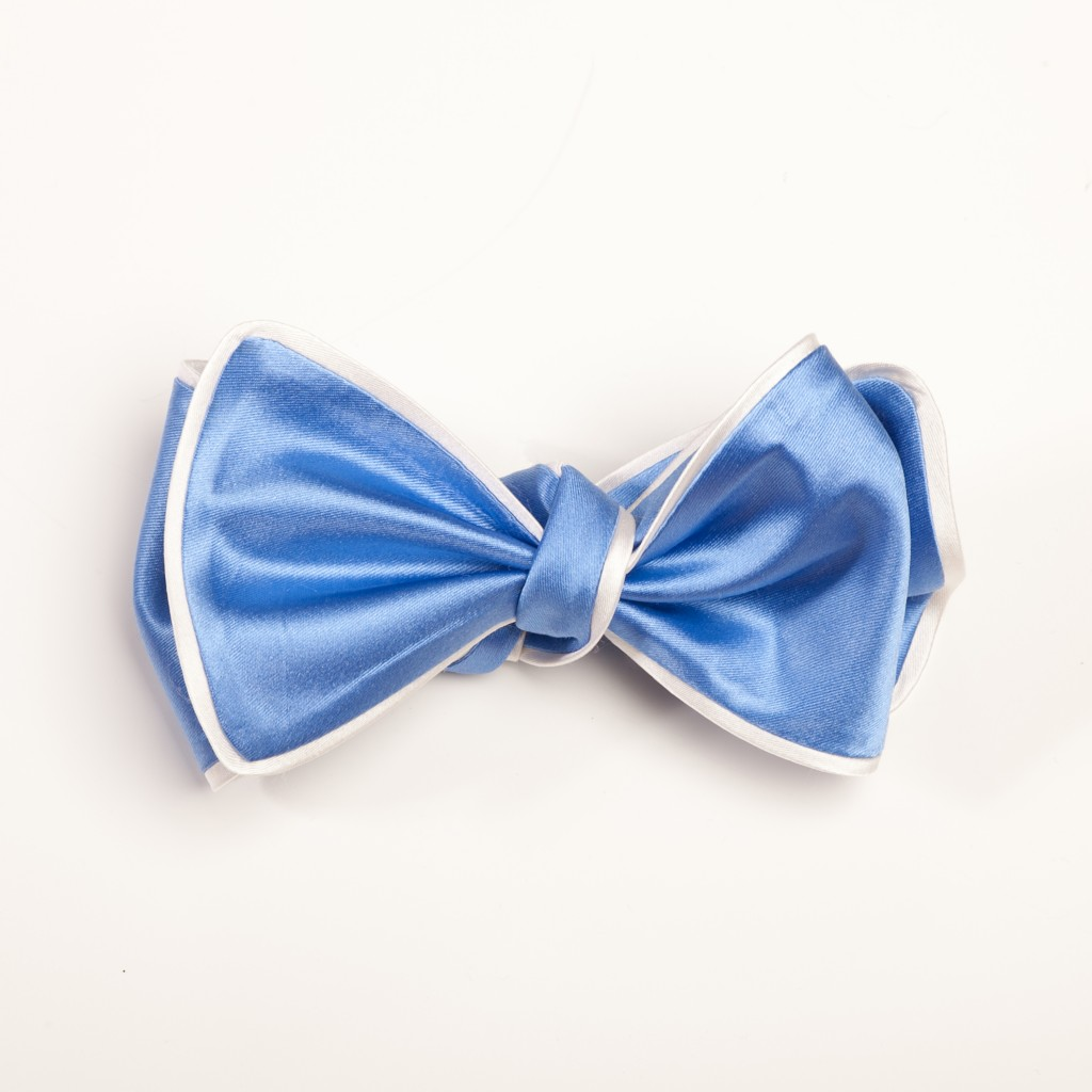 Inspired Knots Satin Baby Blue Bow Tie With White Piping