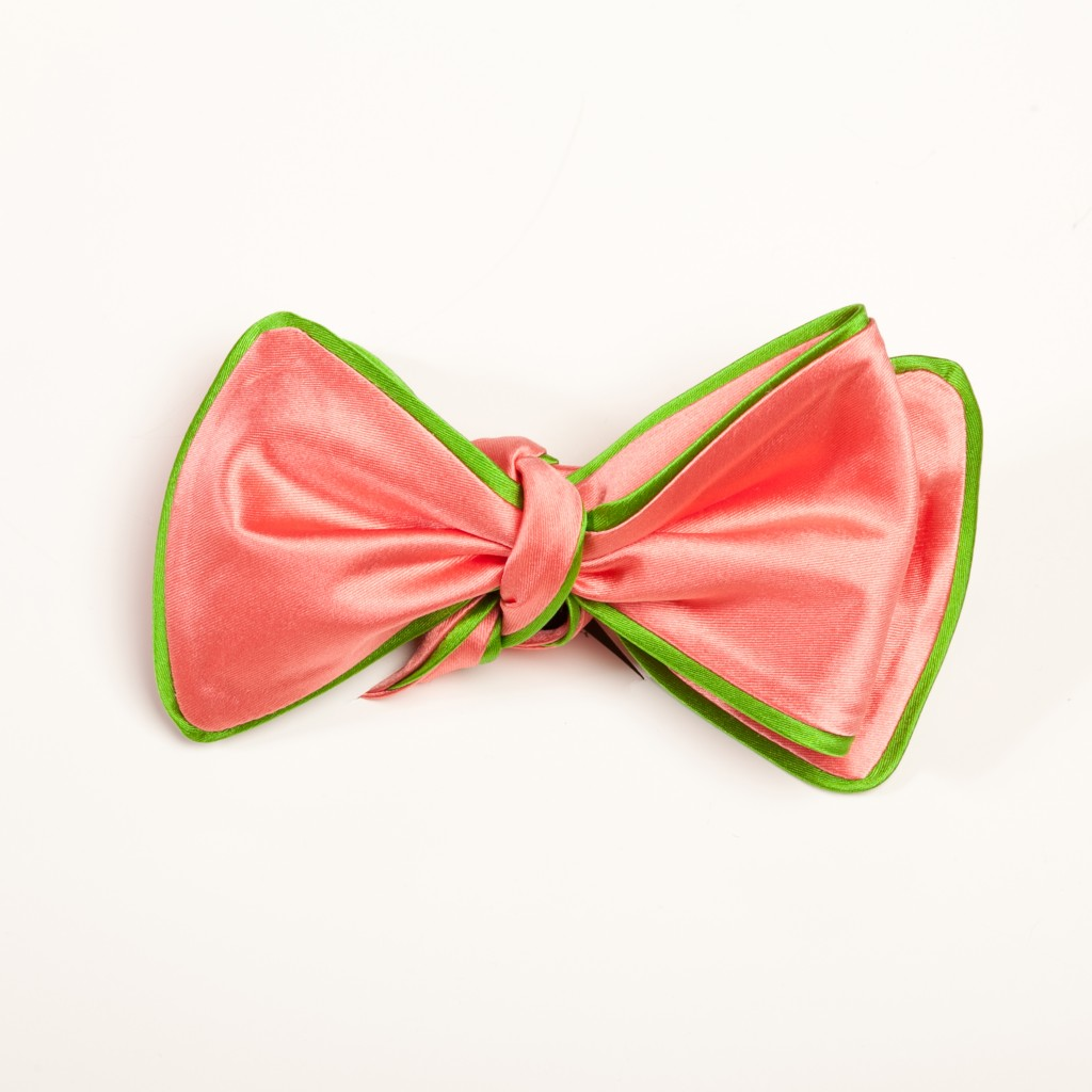 Inspired Knots Satin Pink Bow Tie With Green Piping