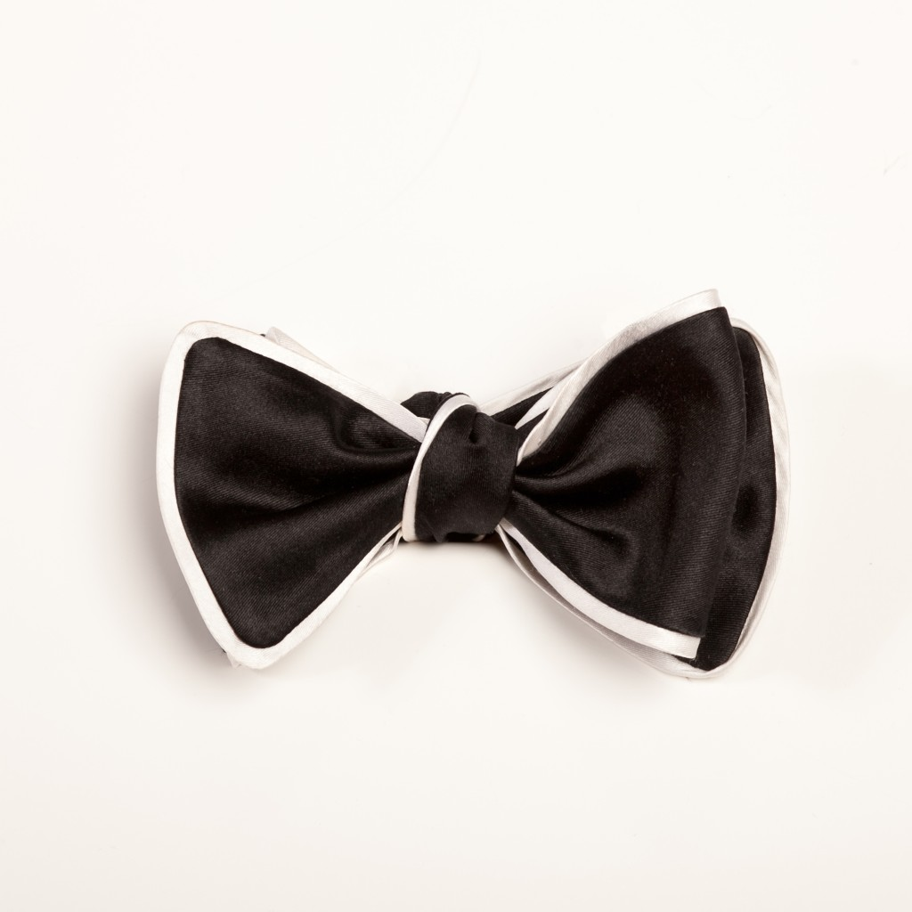 Inspired Knots Satin Black Bow Tie With White Piping