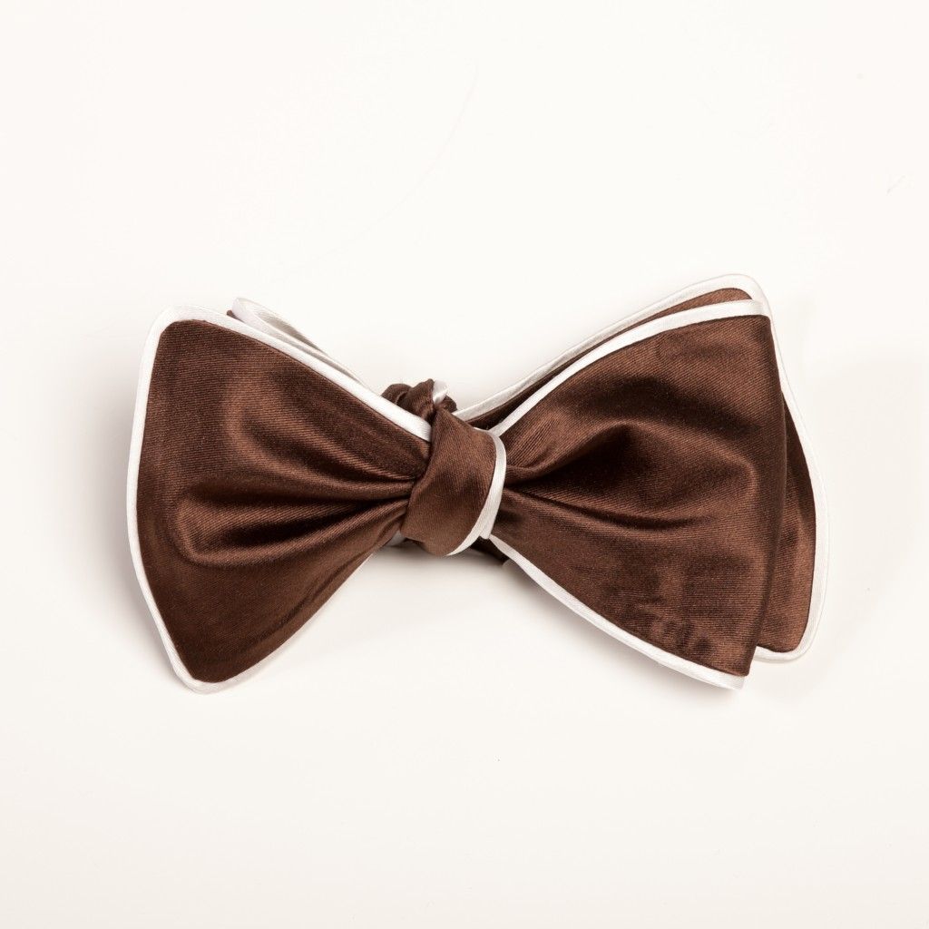 Inspired Knots Satin Brown Bow Tie With White Piping
