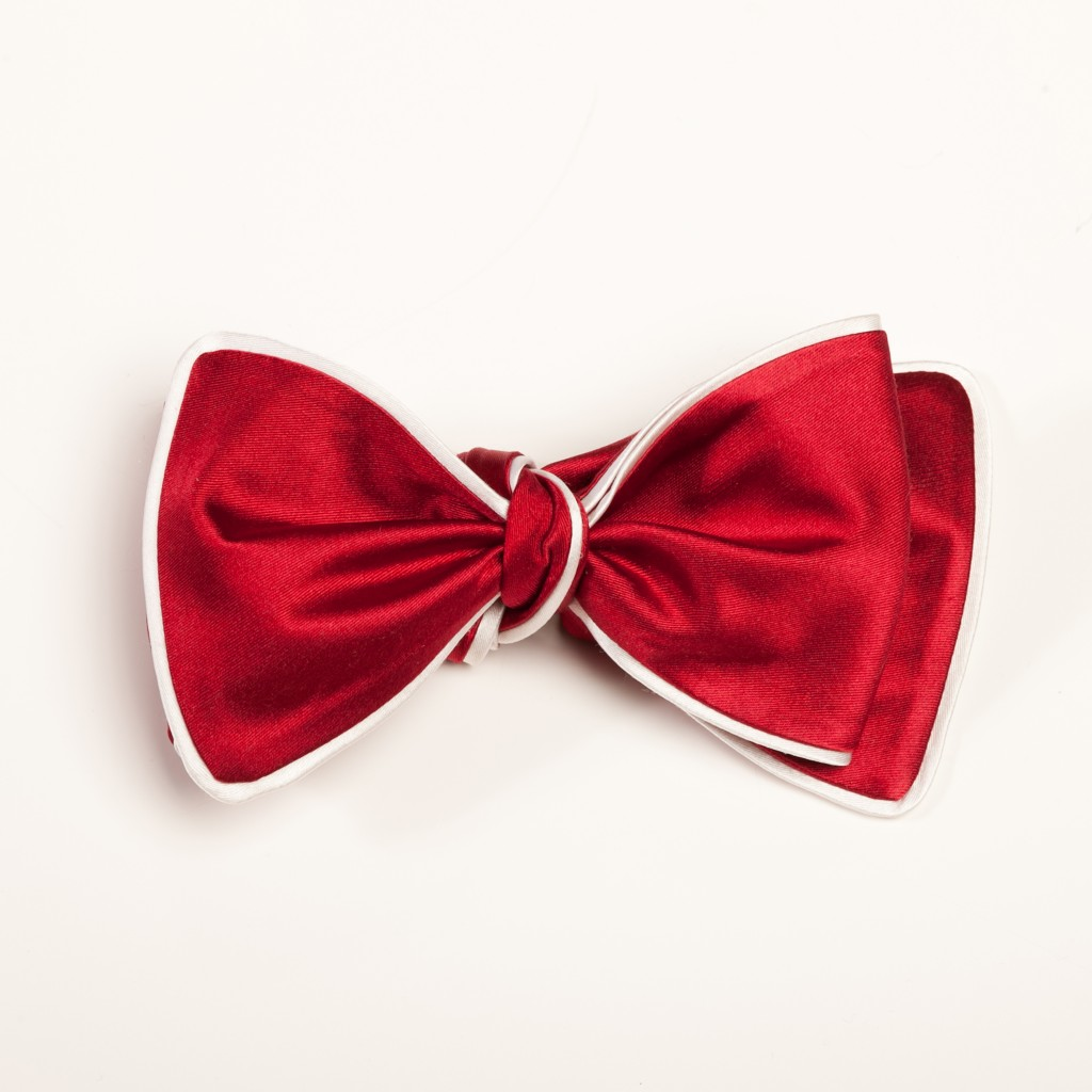 Inspired Knots Satin Red Bow Tie With White Piping