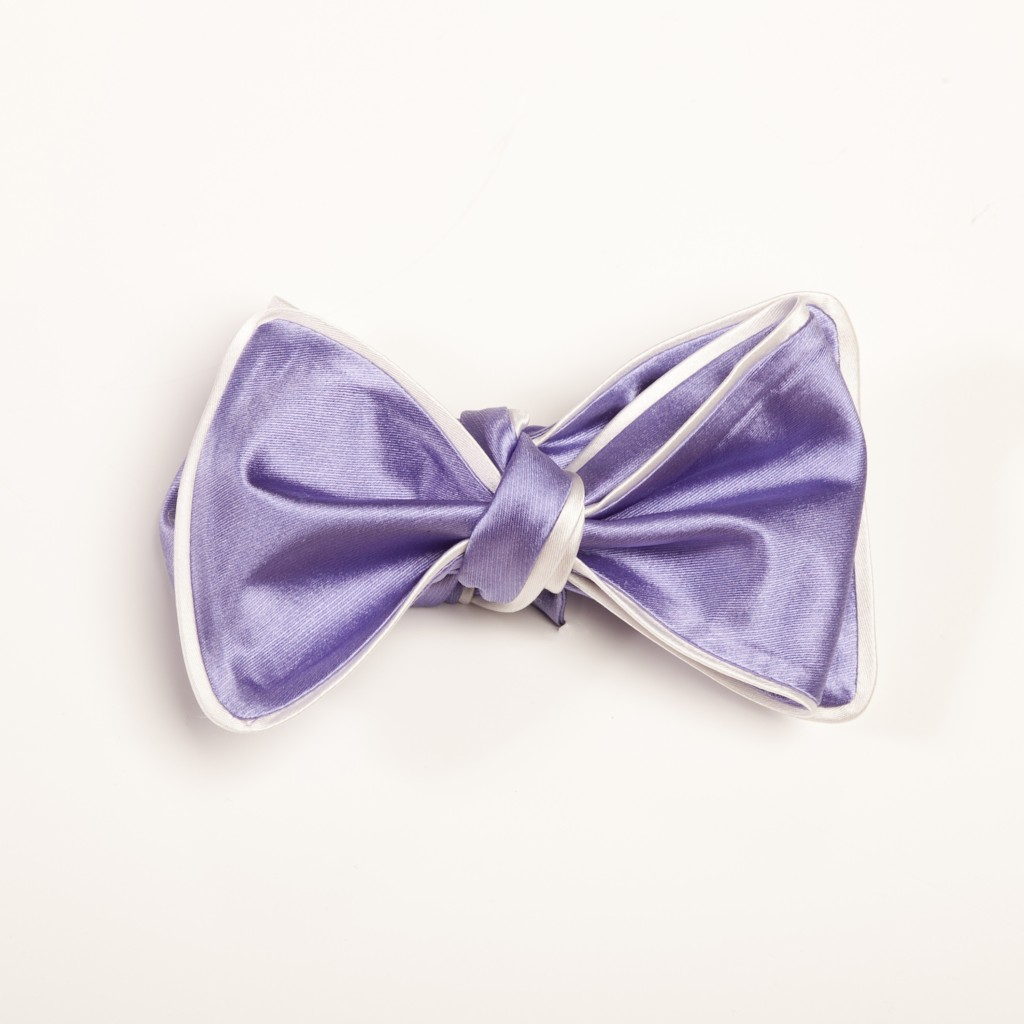 Inspired Knots Satin Purple Bow Tie With White Piping