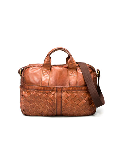 Zara Plaited Leather Briefcase