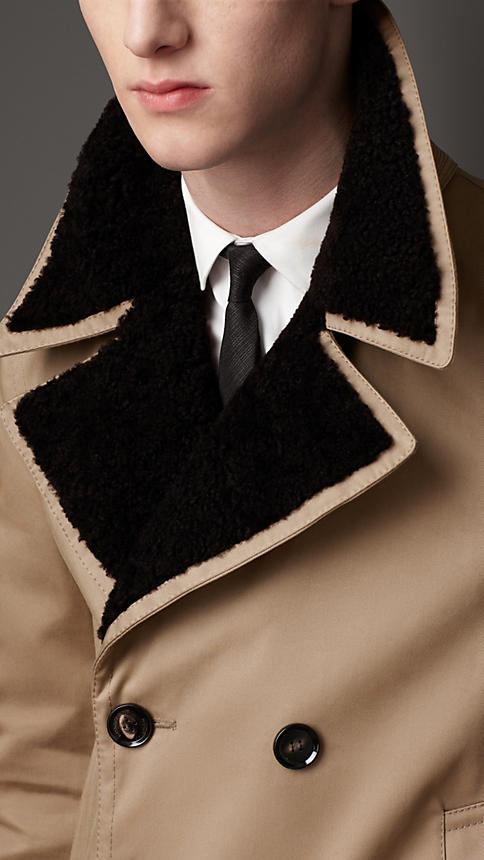 Burberry Men's Shearling Collar Quilted Coat