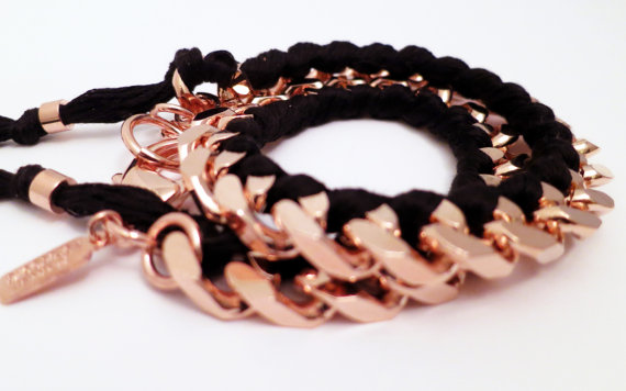 Holbrooke Noir Rose Double Wrap Friendship Bracelet