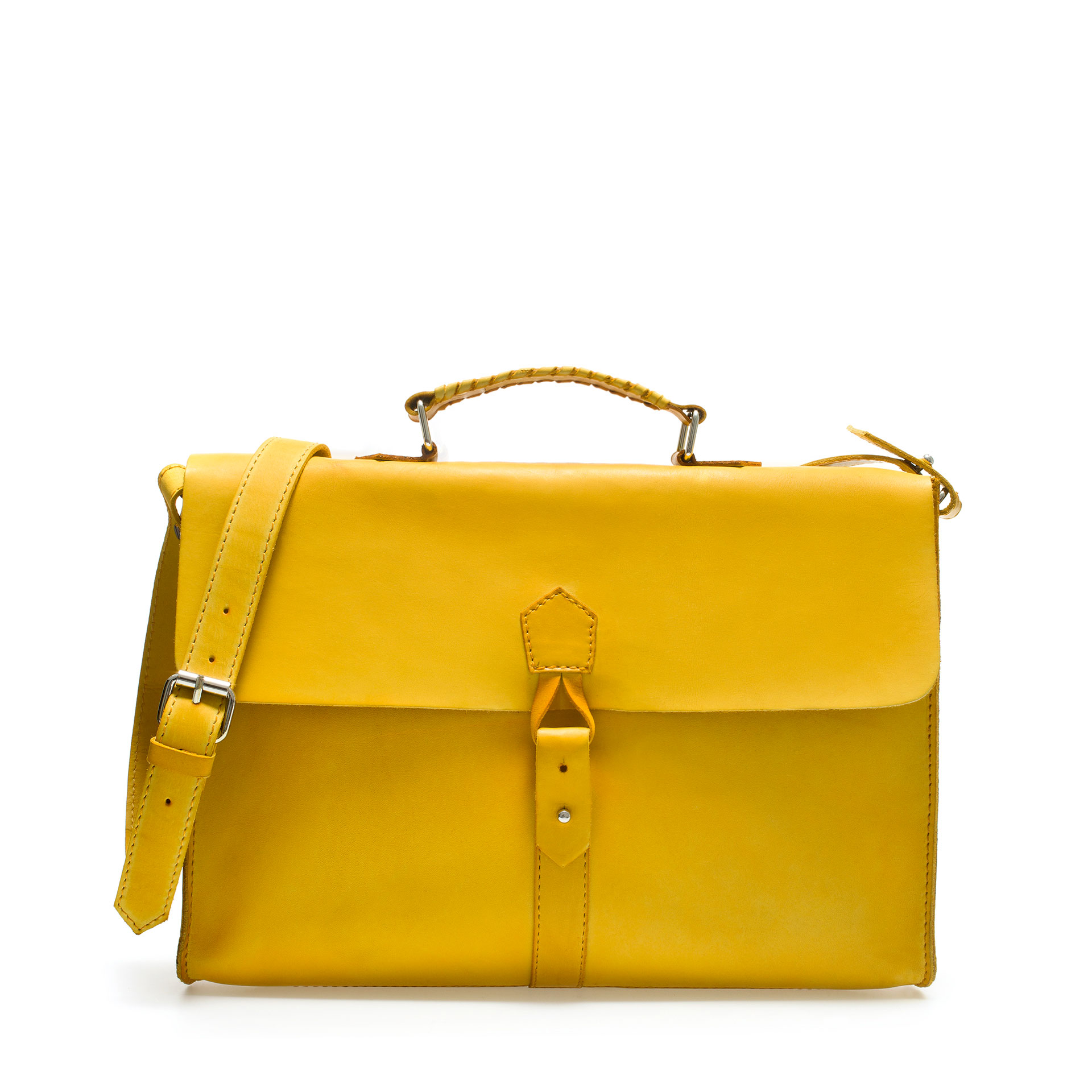 Zara Men's Soft Briefcase In Yellow