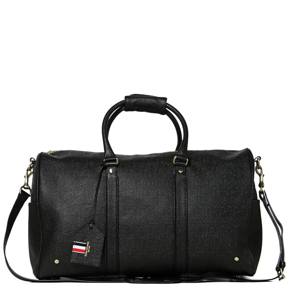 Thom Browne Black Scotch Grain Weekender Bag